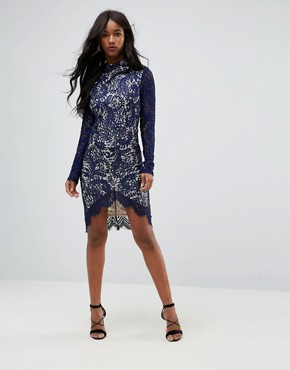 photo Francis Long Sleeve Lace Dip Hem Bodycon Dress Navy by Girl in Mind, color Navy - Image 4
