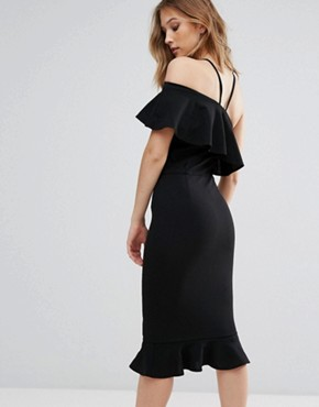 photo Emily One Shoulder Frill Midi Dress by Girl in Mind, color Black - Image 2