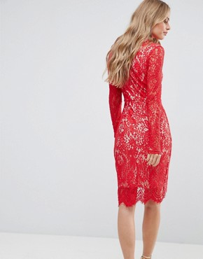 photo Francis Long Sleeve Lace Dip Hem Bodycon Dress by Girl in Mind, color Red - Image 2