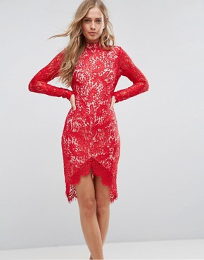 photo Francis Long Sleeve Lace Dip Hem Bodycon Dress by Girl in Mind, color Red - Image 1