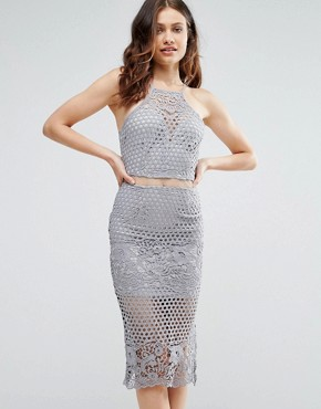 photo Lexi Lace Strappy Midi Dress Grey by Girl in Mind, color Grey - Image 1