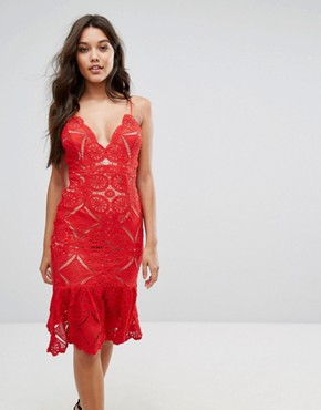 photo Allover Lace Pencil Dress with Fluted Hem Detail by Love Triangle, color Red - Image 1