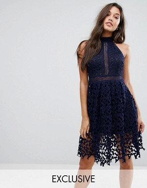 photo Allover Lace Prom Dress by Love Triangle, color Navy - Image 1