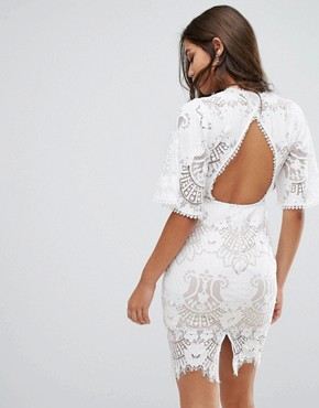 photo Allover Lace Open Back Mini Dress with Fluted Sleeve Detail by Love Triangle, color White - Image 2