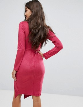 photo Plunge Front Midi Bodycon Dress with Tie Choker Detail by Ginger Fizz, color Pink - Image 2