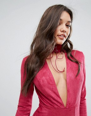 photo Plunge Front Midi Bodycon Dress with Tie Choker Detail by Ginger Fizz, color Pink - Image 3