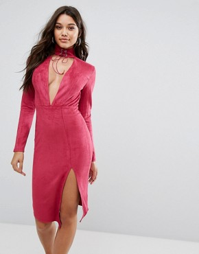photo Plunge Front Midi Bodycon Dress with Tie Choker Detail by Ginger Fizz, color Pink - Image 1