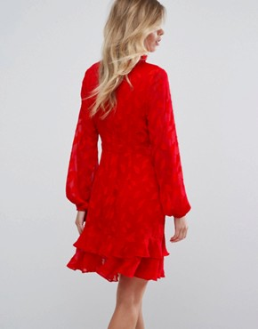 photo Ruffle Skater Dress with Pussybow by Dark Pink, color Red - Image 2