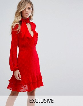photo Ruffle Skater Dress with Pussybow by Dark Pink, color Red - Image 1