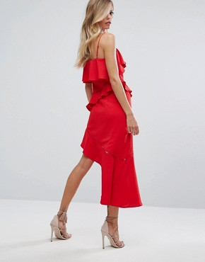 photo Asymmetric Ruffle Midi Dress by Dark Pink, color Red - Image 2