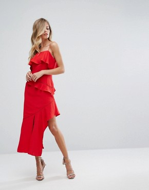 photo Asymmetric Ruffle Midi Dress by Dark Pink, color Red - Image 1