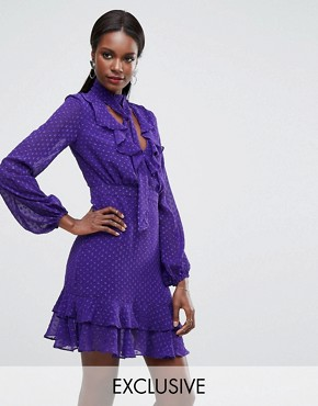 photo Plunge Front Mini Dress with Frill Details by Dark Pink, color Purple - Image 1