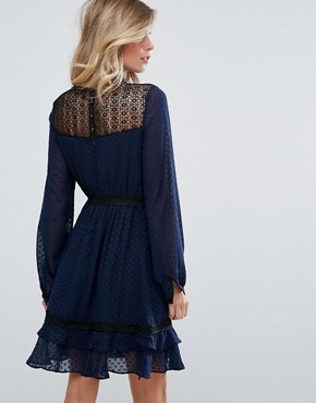 photo Lace Long Sleeve Skater Dress by Dark Pink, color Navy - Image 2