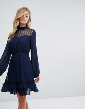 photo Lace Long Sleeve Skater Dress by Dark Pink, color Navy - Image 1