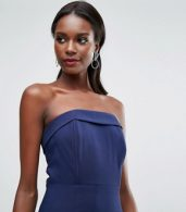 photo Sleek Bandeau Maxi Dress with Pleated Hem Detail by Dark Pink, color Navy - Image 3