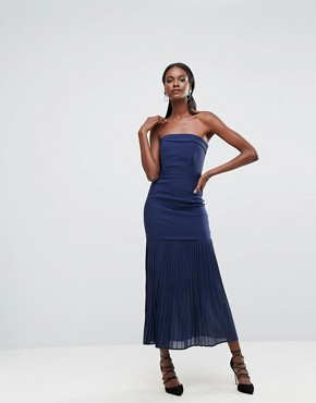 photo Sleek Bandeau Maxi Dress with Pleated Hem Detail by Dark Pink, color Navy - Image 4
