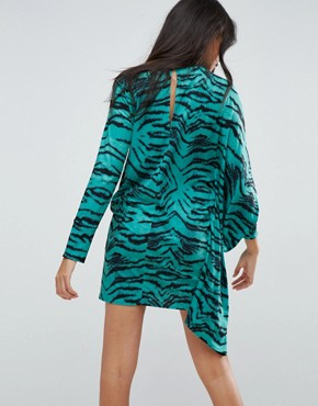 photo Oversized Dress with Asymmetric Batwing Sleeve in Animal Print by ASOS, color Animal Print - Image 2