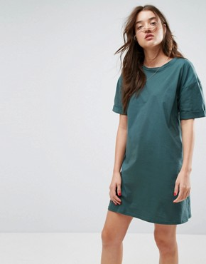 photo T-Shirt Dress with Rolled Sleeves by ASOS ULTIMATE, color Forest Green - Image 1