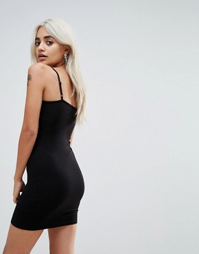photo Mini Seam Detail Cami Bodycon Dress by ASOS PETITE, color Black - Image 2