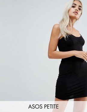 photo Mini Seam Detail Cami Bodycon Dress by ASOS PETITE, color Black - Image 1