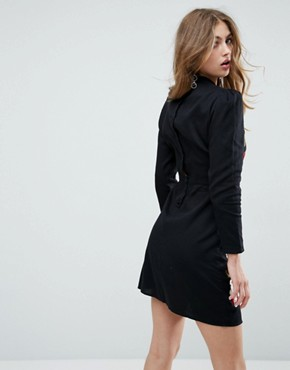 photo Embroidered Mini Dress by ASOS PREMIUM, color Black - Image 2