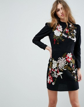 photo Embroidered Mini Dress by ASOS PREMIUM, color Black - Image 1