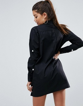 photo Cotton Mini Shirt Dress with Pearl Detail by ASOS, color Black - Image 2