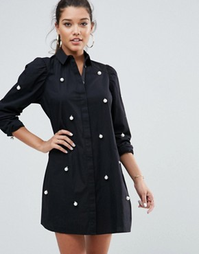 photo Cotton Mini Shirt Dress with Pearl Detail by ASOS, color Black - Image 1