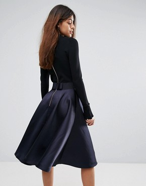 photo Zadi Knitted Bodice Frill Cuffed Dress by Ted Baker, color Navy - Image 2