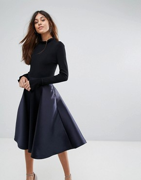 photo Zadi Knitted Bodice Frill Cuffed Dress by Ted Baker, color Navy - Image 1