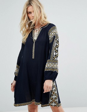 photo Embroidered Boho Dress by Maison Scotch, color Navy - Image 1