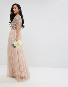 photo V-Neck Maxi Tulle Dress with Tonal Delicate Sequins by Maya Petite, color Taupe Blush - Image 2