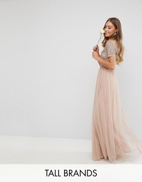 photo V-Neck Maxi Tulle Dress with Tonal Delicate Sequins by Maya Tall, color Taupe Blush - Image 1
