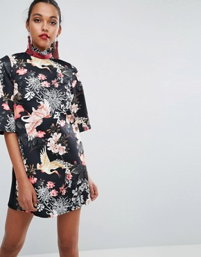 photo High Neck Black Base Floral Mini Shift Dress by ASOS, color Multi - Image 2