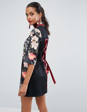 photo High Neck Black Base Floral Mini Shift Dress by ASOS, color Multi - Image 1