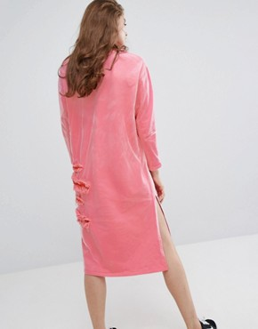 photo Frilly Oversized Dress with Mesh by Typical Freaks, color Pink - Image 2
