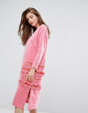 photo Frilly Oversized Dress with Mesh by Typical Freaks, color Pink - Image 1