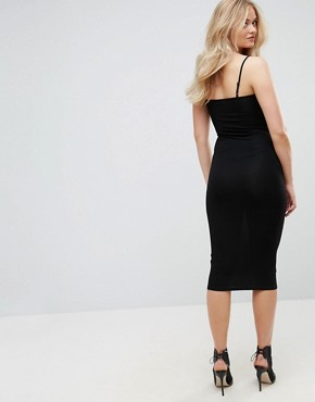 photo Midi Seam Detail Cami Bodycon Dress by ASOS TALL, color Black - Image 2