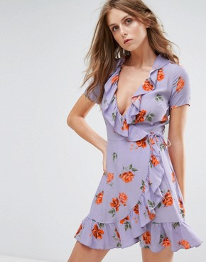 photo Wrap Front Dress with Ruffle Hem in Vintage Floral by Nobody's Child, color Lilac - Image 1