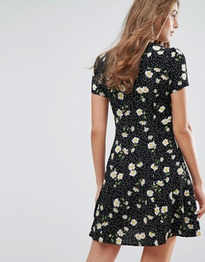 photo Tea Dress with Button Front in Dark Floral by Nobody's Child, color Black - Image 2