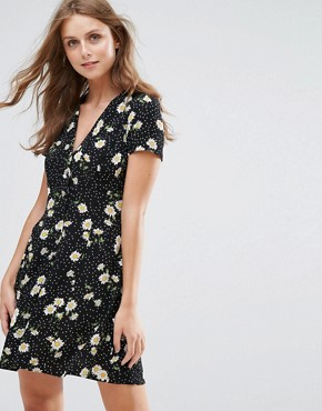 photo Tea Dress with Button Front in Dark Floral by Nobody's Child, color Black - Image 1