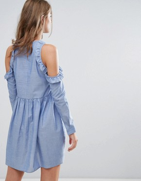 photo Cold Shoulder Smock Dress with Ruffle Trim in Chambray by Nobody's Child, color Chambray - Image 2
