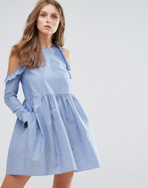 photo Cold Shoulder Smock Dress with Ruffle Trim in Chambray by Nobody's Child, color Chambray - Image 1