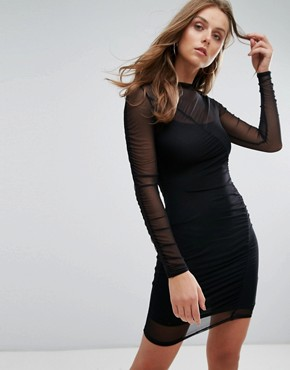 photo Ruched Mesh Mini Dress by Nobody's Child, color Black - Image 1
