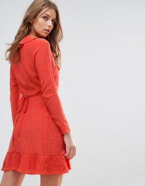photo Long Sleeve Wrap Front Dress with Ruffle in Spot by Nobody's Child, color Red - Image 2