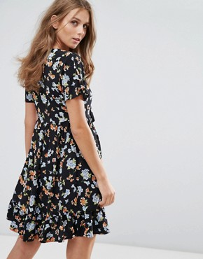 photo Smock Dress with Tie Front in Mini Floral by Nobody's Child, color Black - Image 2