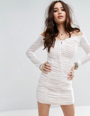 photo Bardot Bodycon Dress with Sheer Sleeves and Ruching by Honey Punch, color White - Image 1