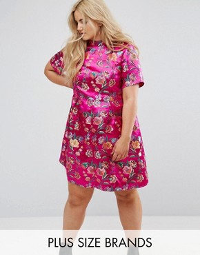 photo High Neck Shift Dress in Embroidered Brocade by Alice & You, color Pink Brocade - Image 1