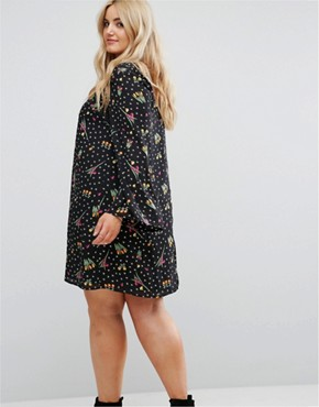 photo Button Front Long Sleeve Swing Dress by Alice & You, color Black - Image 2