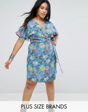 photo Wrap Front Tea Dress in Illustrated Floral by Alice & You, color Blue Pink Floral - Image 1